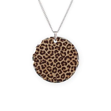 LEOPARD PRINT Necklace Circle Charm