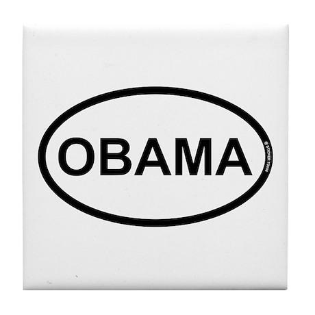 White Black Obama Tile Coaster