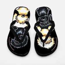 Labradoodle 2 heads R Better Black Flip Flops