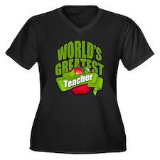 Worlds Greatest Teacher Women's Plus Size V-Neck D