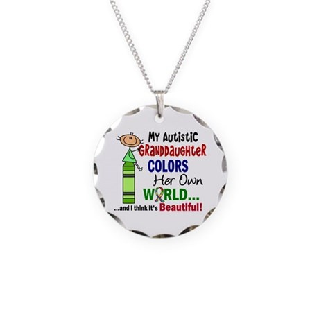 Colors Own World Autism Necklace Circle Charm