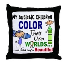 Colors Own World Autism Throw Pillow
