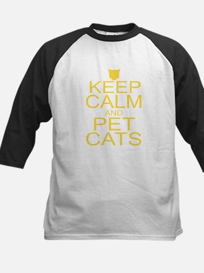 Keep Calm and Pet Cats Kids Baseball Jersey