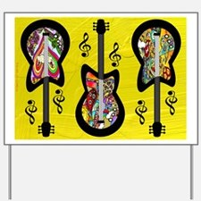 Psychedelic Guitars Yard Sign