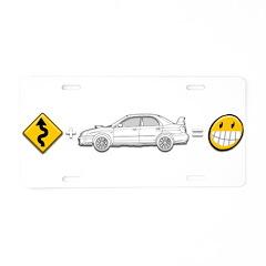 curves subaru fun Aluminum License Plate