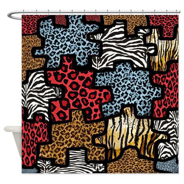 rab animal print puzzle shower curtain by leehillerdesigns