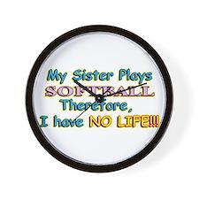 My Sister Plays Softball Wall Clock