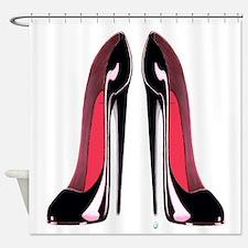 Pair Black Stiletto Shoes Shower Curtain