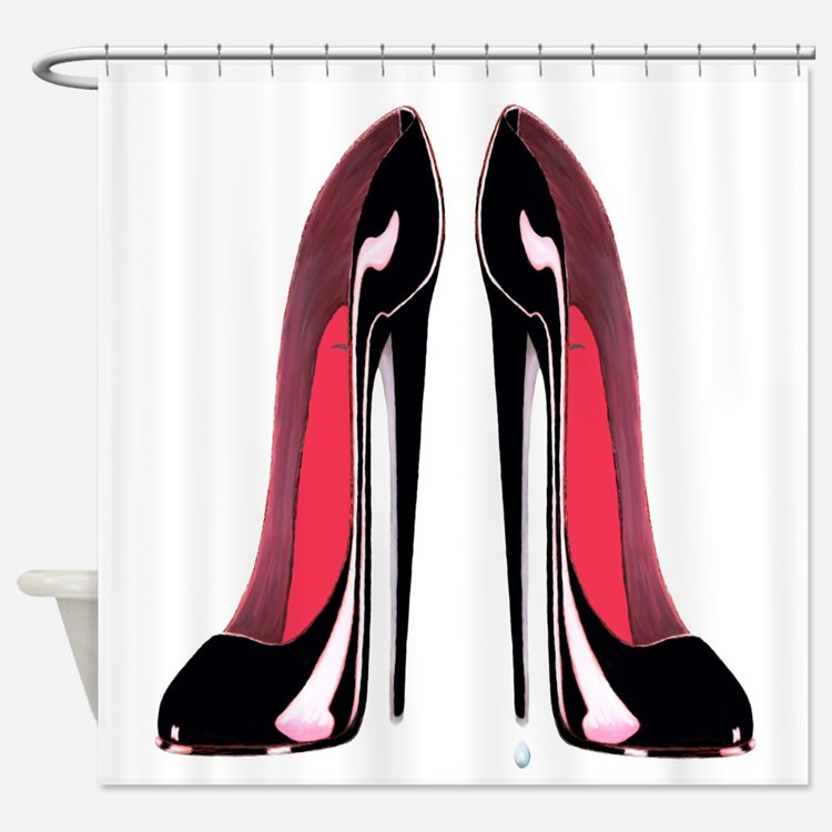 Pair Black Stiletto Shoes Shower Curtain