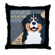 Bernese-Kiss.Snuggle.Repeat. Throw Pillow
