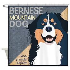 Bernese-Kiss.Snuggle.Repeat. Shower Curtain