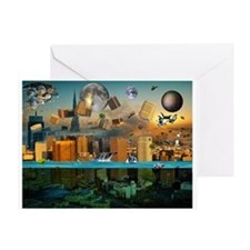 Gravity Confusion City Under Greeting Card