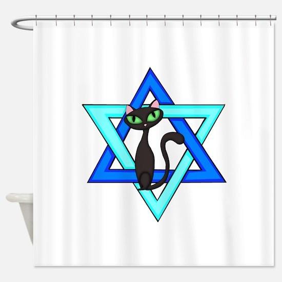 Jewish Cat Stars Shower Curtain