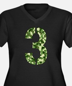 Number 3, Camo Women's Plus Size V-Neck Dark T-Shi