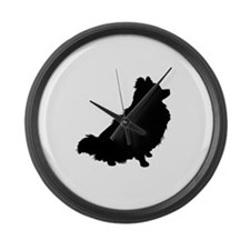 Pomeranian Silhouette Large Wall Clock