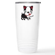 "Boston Terrier Puppy says ""Wo Travel Mug"
