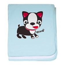 "Boston Terrier Puppy says ""Wo baby blanket"