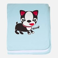 "Boston Terrier Puppy says ""Wo baby blanket"