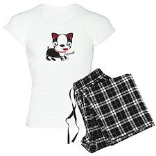 """Boston Terrier Puppy says """"Wo Pajamas"""