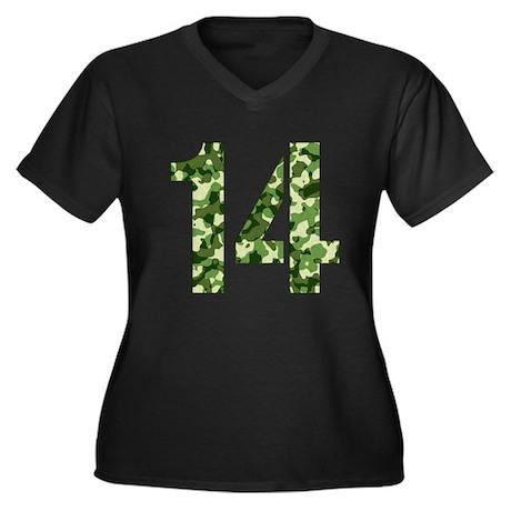 Number 14, Camo Women's Plus Size V-Neck Dark T-Sh