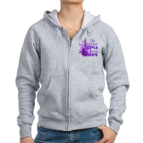I'm Rockin' Purple for my Wif Women's Zip Hoodie