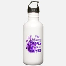 I'm Rockin' Purple for my Sis Water Bottle