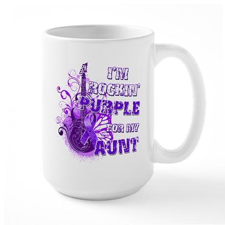I'm Rockin' Purple for my Aun Large Mug