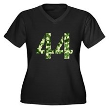 Number 44, Camo Women's Plus Size V-Neck Dark T-Sh
