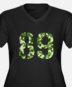 Number 89, Camo Women's Plus Size V-Neck Dark T-Sh