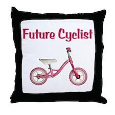 Future Girl Cyclist Throw Pillow