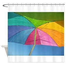 Colorful Beach Umbrella Shower Curtain
