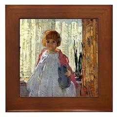 Painting of a Girl Framed Tile