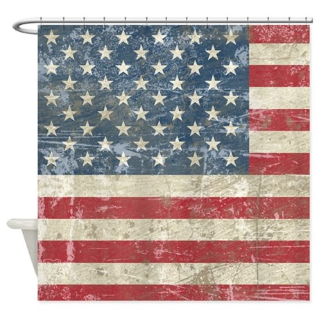 Vintage USA Flag Shower Curtain