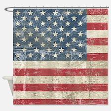 Vintage USA Flag Shower Curtain