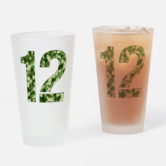 Number 12, Camo Drinking Glass