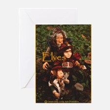 Elves: yellow text Greeting Card