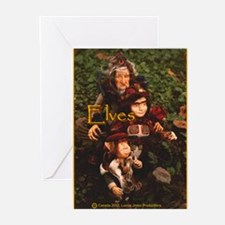 Elves: yellow text Greeting Cards (Pk of 10)