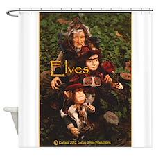 Elves: yellow text Shower Curtain