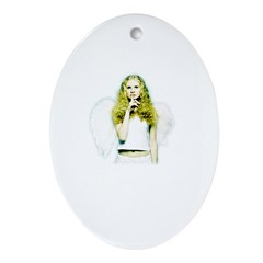 Angel Shhh Oval Ornament