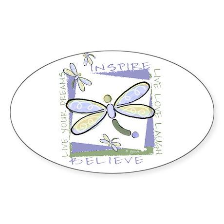Inspire Dragonflies Oval Sticker