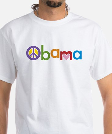 Peace, Love, Obama White T-Shirt