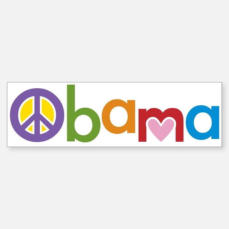 Peace, Love, Obama Bumper Bumper Sticker