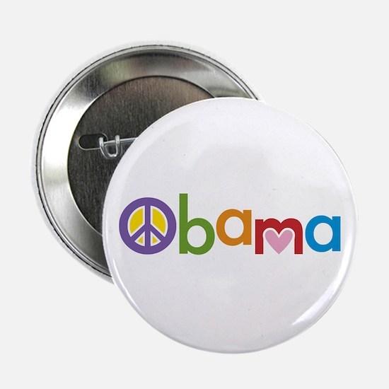 """Peace, Love, Obama 2.25"""" Button"""