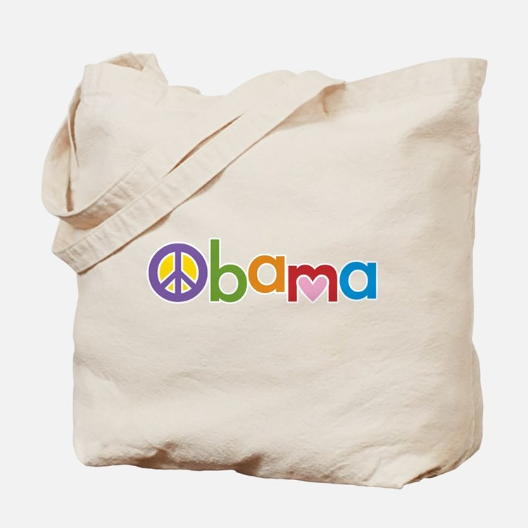 Peace, Love, Obama Tote Bag