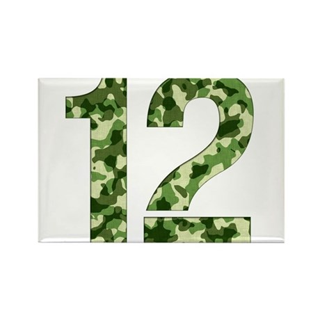 Number 12, Camo Rectangle Magnet (10 pack)