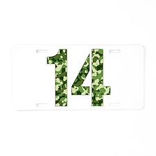 Number 14, Camo Aluminum License Plate