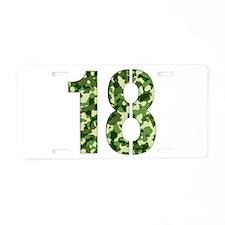 Number 18, Camo Aluminum License Plate