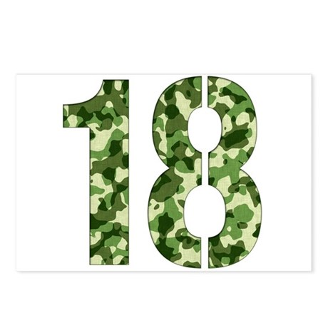 Number 18, Camo Postcards (Package of 8)