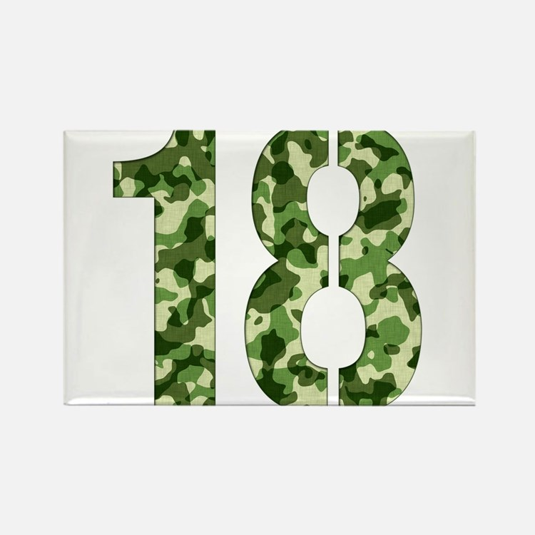 Number 18, Camo Rectangle Magnet