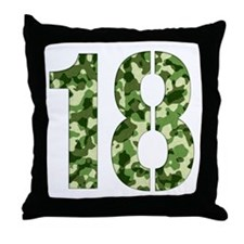 Number 18, Camo Throw Pillow